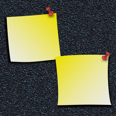 Yellow Stick Notes with push pins
