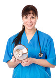portrait veterinarian with kitten. isolated on white background