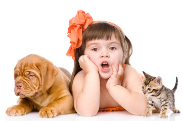 Surprised girl with cat and dog. isolated on white background