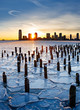 Sunset over Frozen Hudson River and Jersey City