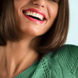 Closeup of woman's perfect smile. Dental care concept
