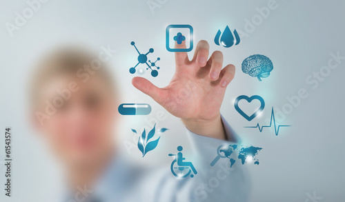Medicine doctor hand working with modern computer interface as c