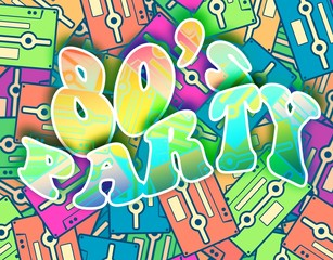 80s party retro concept, Vintage poster design