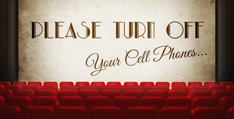 Please turn off cell phones screen in old retro cinema