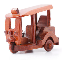 Tuk Tuk wood model isolated on white