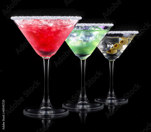 alcohol cocktail set on a black