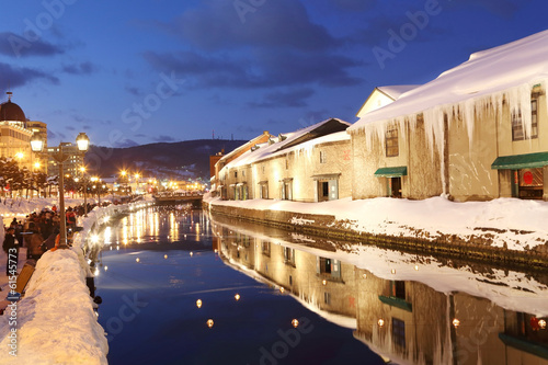 otaru canal in japan the winter evenning