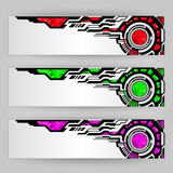 abstract tech banners color