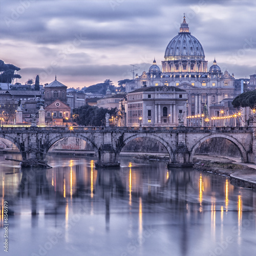 Rome and the river tiber at dusk