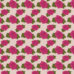 Rose (Seamless Pattern). Vector illustration