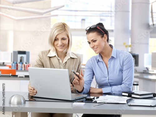 Businesswomen working together at modern office