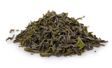 Heap of dry green tea isolated on white