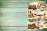 Vintage travel background with old photo poster