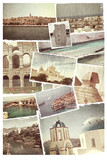 Vintage travel background with old photo. poster
