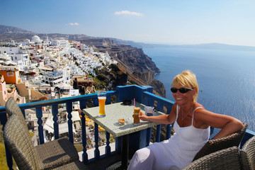 ice coffee with a view on Santorini island, Greece