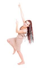 pointing upwards teenage girl, white background