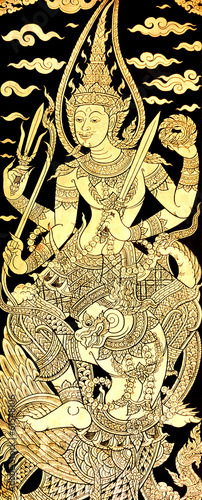 Vishnu on Garuda, Traditional Thai Style Painting