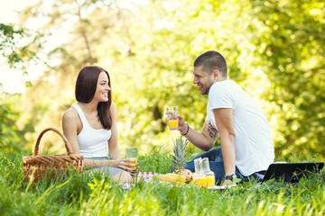 Happy young couple having a picnic