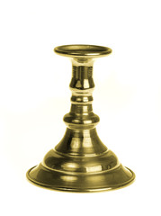 Gold plated candlestick isolated on white background
