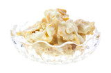 White chocolate clusters in bowl