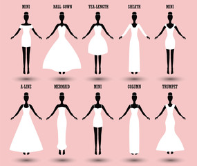 Wedding dress type infographics