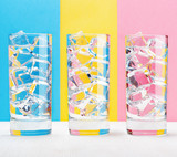 Three glasses on colorful background. Vintage style