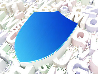 Privacy concept: Shield on alphabet background