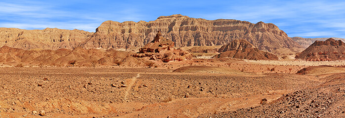 Red mountains in Timna park.