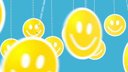 Dangling on strings smiley icons animated.