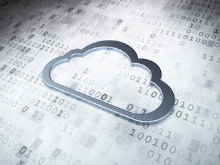 Cloud technology concept: Silver Cloud on digital background