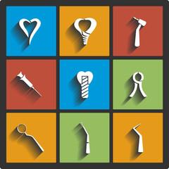 Set of Dental theme icons. Vector illustration