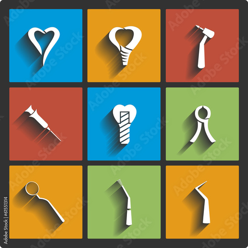 Set of Dental theme icons. Vector illustration