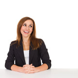 Smiling female consultant reading