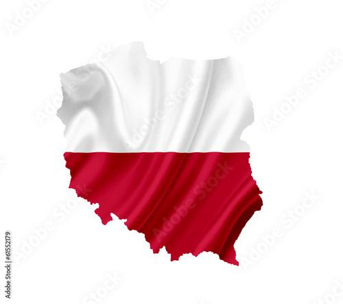 Mapa Polski z flagą na białym tle