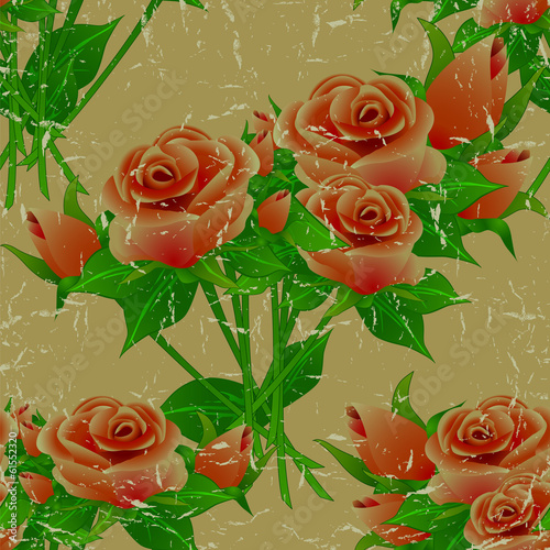 Seamless floral vintage aged pattern with roses.