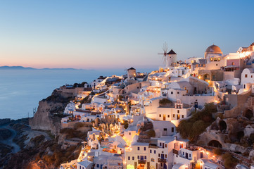 Oia Santorini Greece at dusk