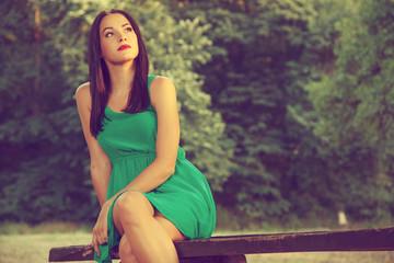 Beautiful young woman portrait outdoors