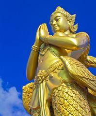 Kinnara statue; Mythical female bird with a human head, Thailand