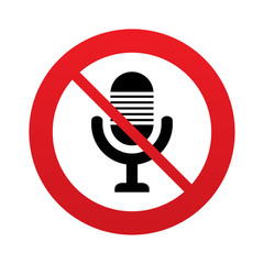 Don`t record. Microphone icon. Speaker symbol.
