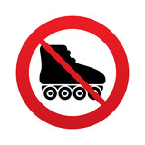 No Roller skates sign icon. Rollerblades symbol.