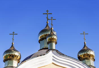 Golden domes and crosses Christian Orthodox Cathedral. Odessa, U
