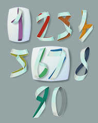 Ribbon Numerals for Infographics and Anniversaries