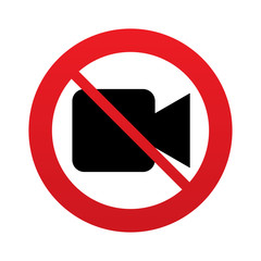 Don`t shoot video. Video camera sign icon.
