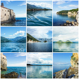Collage Montenegro natural summer landscapes.
