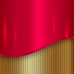 Vector abstract cherry red and gold metallic background