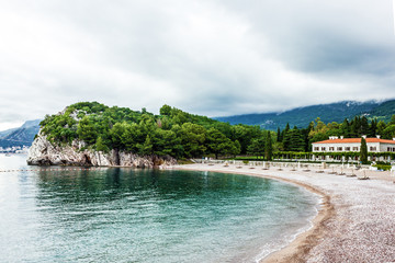 Beach in Montenegro - old hotel in the Queens' beach, Budva.