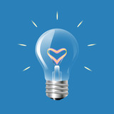 Concept of love in the form of light bulb on a blue background.