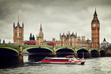 Fototapety London, the UK. Big Ben, the River Thames, red buses and boat