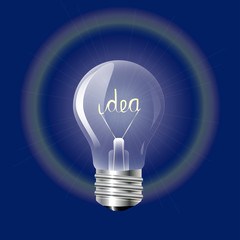 Concept ideas in the form of light bulb on a blue background.