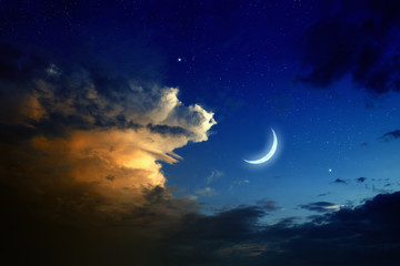 Sunset, moon, stars